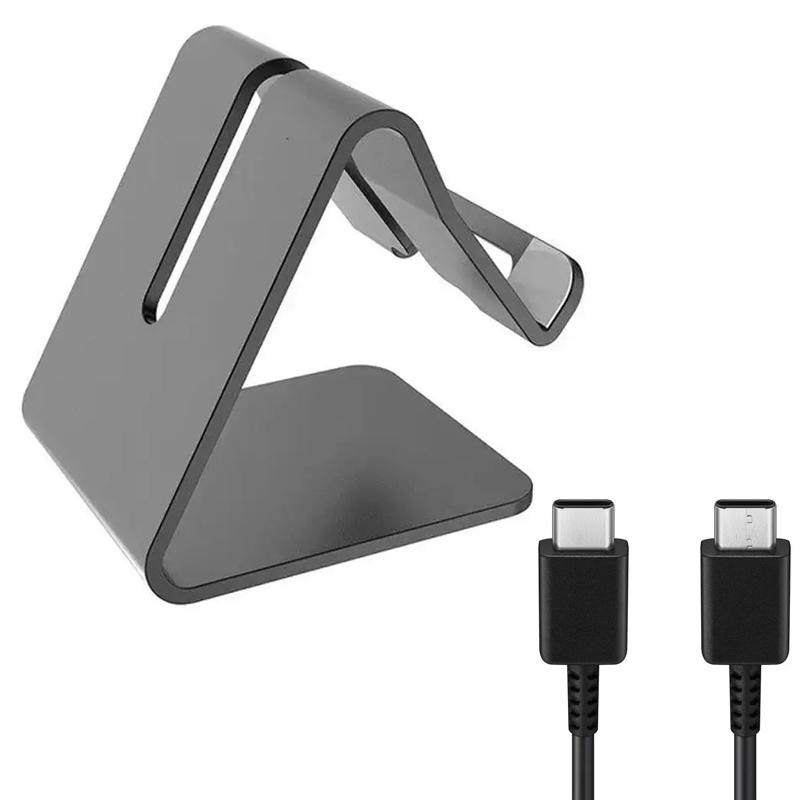 Desktop Mobile Phone Stand/Holder with Samsung USB-C to USB-C Cable 1M - Black