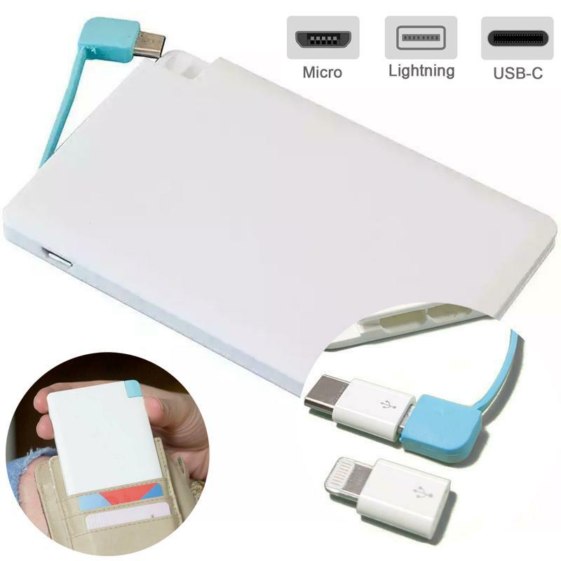 Credit Card Power Bank 2000mAh + USB-C & Lightning Connectors