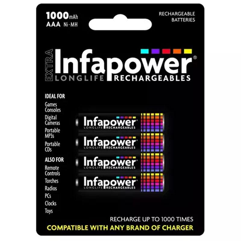 Infapower 1000mAh AAA Longlife Rechargeable Batteries - 4 Pack