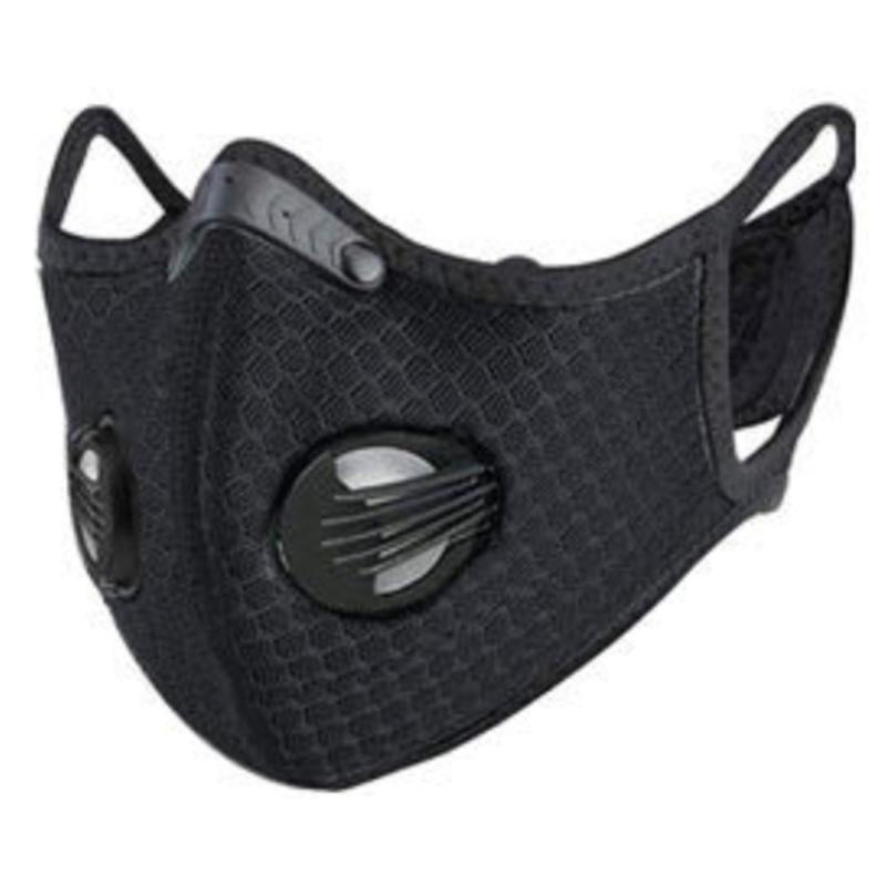 Washable Fashion Face Mask - Double Air Valves with PM2.5-F5 Filter - Jet Black