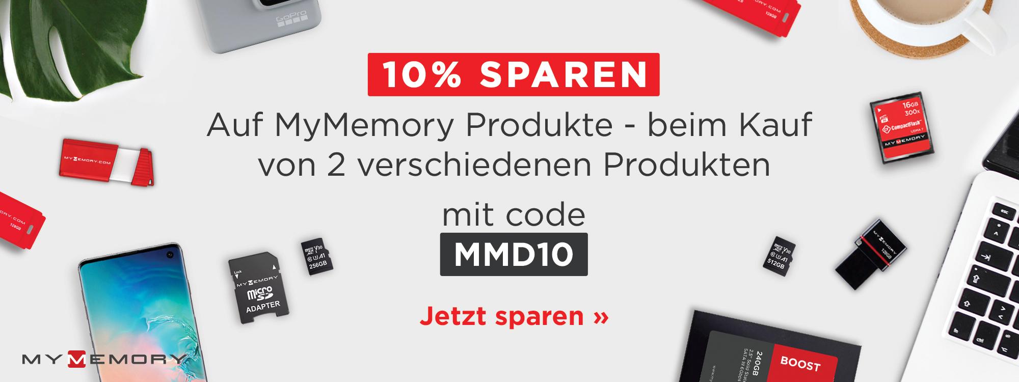 Kaufen Sie 2 verschiedene MyMemory-Markenprodukte. Sparen Sie 10% mit dem Code MMD10