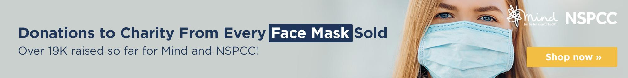 Donations to charity from every face mask sold. Over £19k raised so far! Shop now