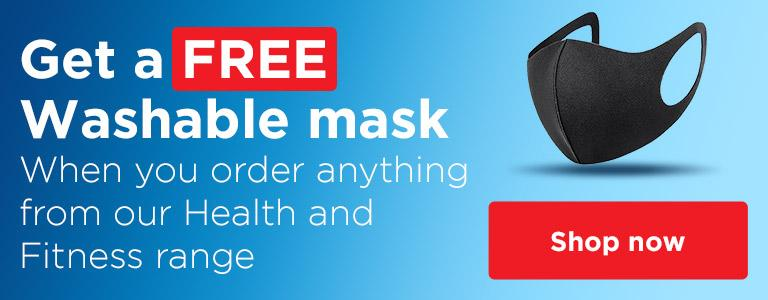 Order anything from our Health and Fitness range and receive a free face mask