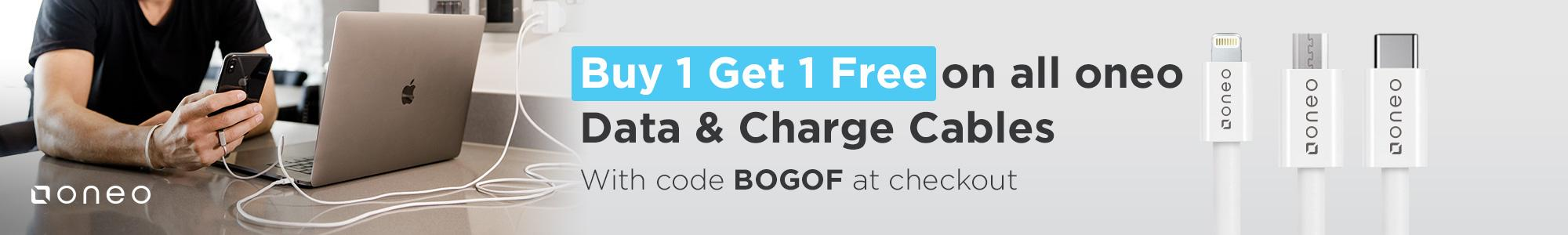 Buy 1 Get 1 Free on all oneo Data & Charging Cables Add two oneo cables and apply discount code BOGOF at cart