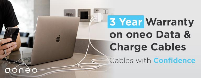 3 Year Warranty on oneo Data & Charge Cables! Cables with Confidence